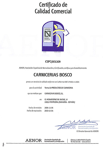Certificado de calidad Carnicería Bosco II