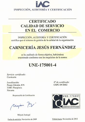 Certificado de calidad Carnicería J.Fernandez